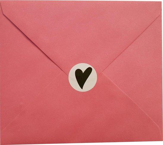 Sluitzegel gouden hartje - 16 stuks - stickers - sluitsticker - cadeauzakje - inpakken - huwelijk