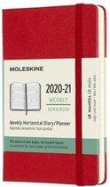 Afbeelding van Moleskine 18 Maanden Agenda - 2020/21 - Wekelijks Horizontaal - Pocket (9x14 cm) - Scarlet Red - Harde Kaft
