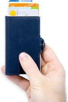 Silvergear Leder Pasjeshouder Portemonnee - Blauw - RFID anti-skim bescherming