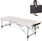 MC Star Massagetafel Aluminium Lichtgewicht -2 Zones - Massage tafel Opvouwbare Professionele Cosmetica Reiki met verwijderbaar Hoofdsteun Armleuning - Wit