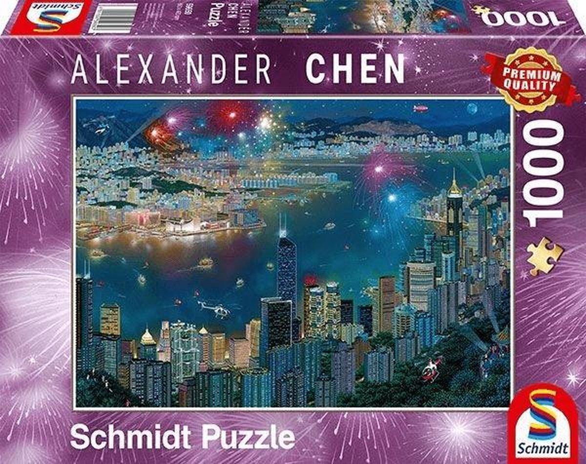 Vuurwerk boven Hong Kong, 1000 stukjes Puzzel