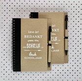 2 Eco notitieboekjes met pen | Juf Cadeau | Einde Schooljaar | Juf Bedankje