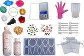 PNCreations Epoxy Hars Uitgebreid Pakket | Starterset | Starterkit | Epoxy Giethars | 7 Kleuren/Kleurpigmenten | Grote Siliconen Mal | Opvulmateriaal | Mengbenodigdheden | Precisie Weegschaal | Geschenkzakjes