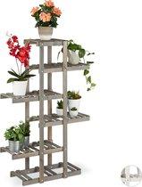 relaxdays plantenrek van hout - plantentrap - bloemenrek - etagère - 5 etages grijs