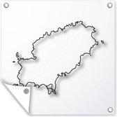 Een illustratie van een kaart van Ibiza tuinposter 50x50 cm - klein - Tuindoek / Buitencanvas / Schilderijen voor buiten (tuin decoratie)