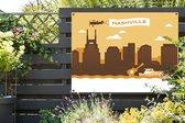 Illusttratie van Nashville bij een oranje lucht tuinposter 160x120 cm - Tuindoek / Buitencanvas / Schilderijen voor buiten (tuin decoratie) XXL / Groot formaat!
