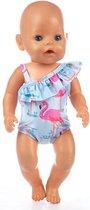 Badpak met flamingo's voor pop zoals baby born - Poppenkleding poppen tot 43 cm