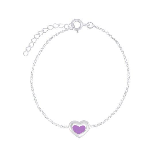 Zilveren hartje paars armband 14 cm + 3