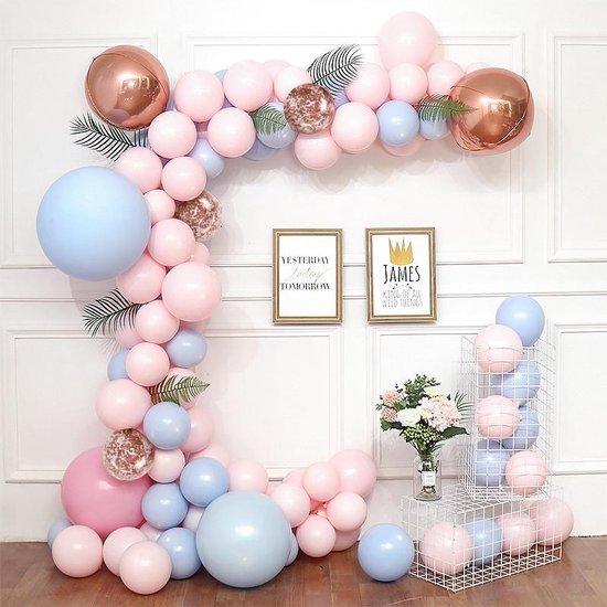 Ballonnenboog - DIY - Roze - Blauw - Rose goud - Babyshower - Gender Reveal - Verjaardag Versiering - Bruiloft - 49 ballonnen - Feest Versiering - 5 Meter - 1 jaar - GRATIS POMP en OPHANGHAAKJES - Decoratie