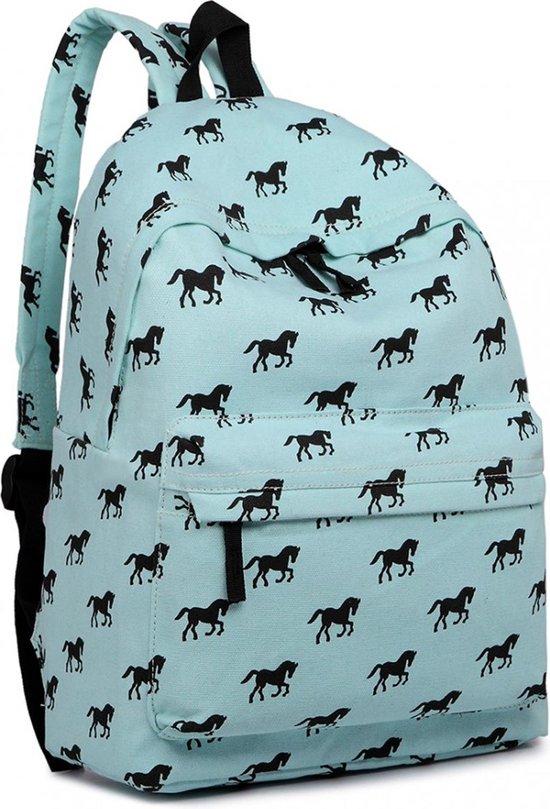Miss Lulu Rugzak - Schooltas - Schoolrugzak Paarden - Premium Kwaliteit - Blauw (e1401h be) - Miss Lulu
