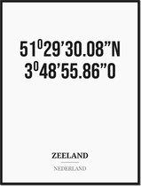 Poster/kaart ZEELAND met coördinaten