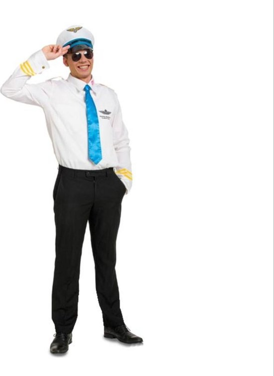 Pilotenpak met stropdas en Pilotenpet - Blauw, Wit - Carnaval - Feestkleding - Carnavalspak - Piloot - Verkleedkleding - maat M/L 46-50
