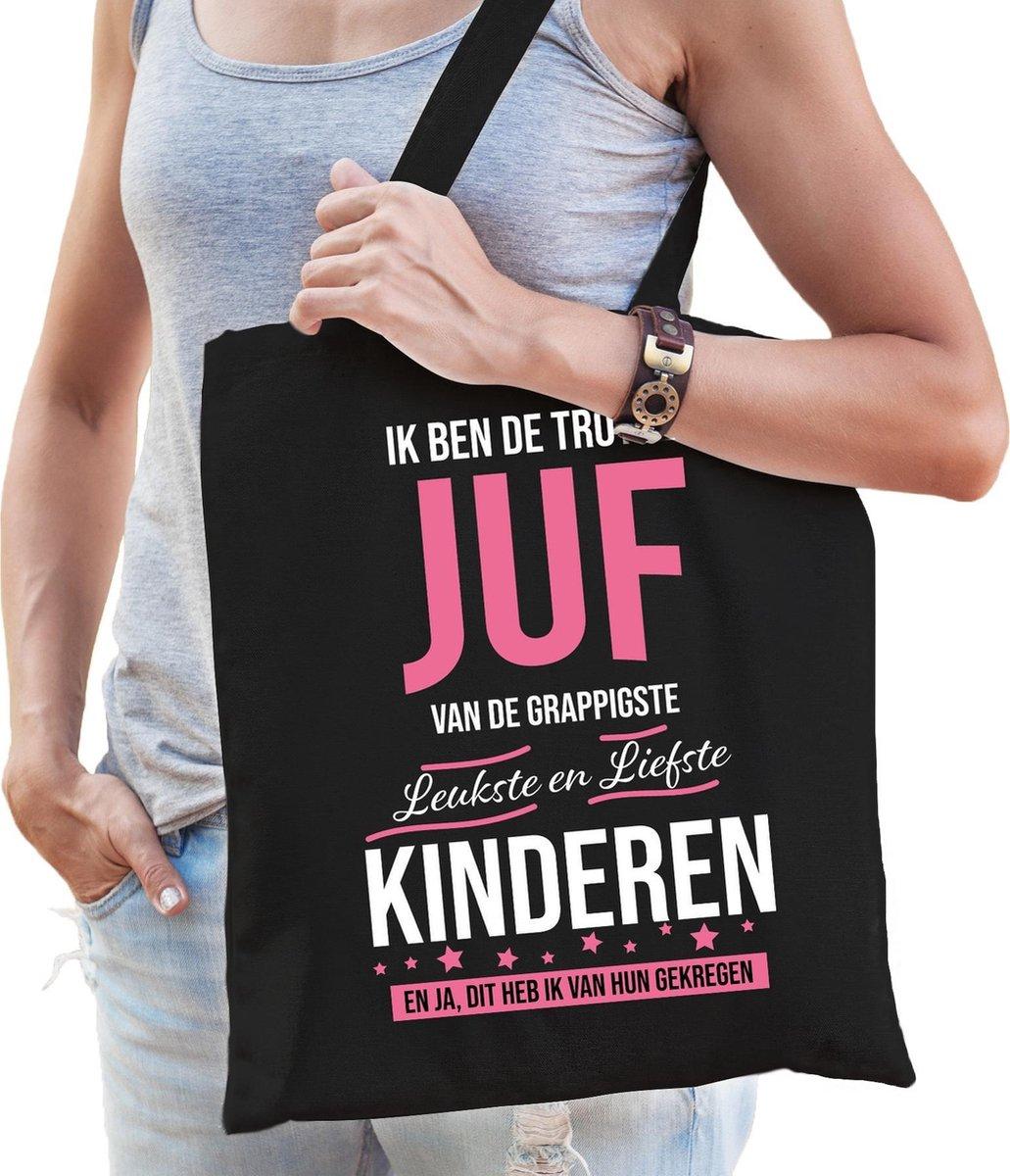 Trotse juf katoenen cadeau tasje zwart voor dames - wit en roze letters - verjaardag / kado tassen /