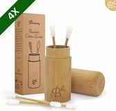 Bamboozy 4x Herbruikbare Wattenstaafjes Bamboe met Bamboehouder Wasbare Oorstaafjes Oorstokjes Zero Waste Plastic vrij Duurzaam