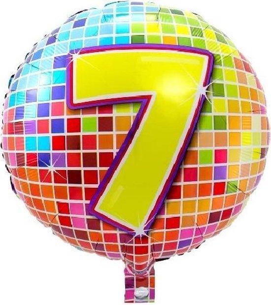 Folieballon 7 JAAR Birthday blocks 43 cm