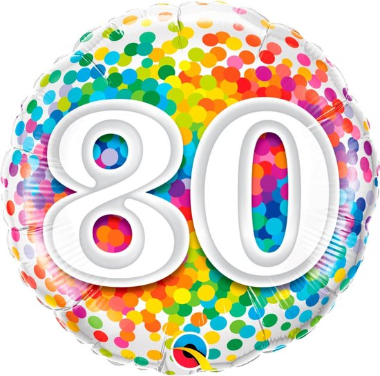 Folie cadeau sturen helium gevulde ballon 80 jaar confetti 45 cm - Folieballon verjaardag versturen/verzenden