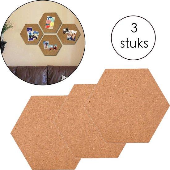 Afbeelding van Kurk prikbord zeshoek - zelfklevend - Kurk Prikbord - Zeshoek - 3 stuks