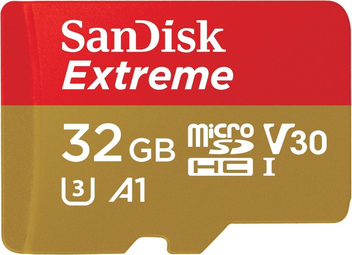 SanDisk Extreme Micro SDHC 32GB - A1 V30 U3 - met adapter