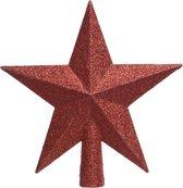 1x Kerst rode glitter kerstboom ster piek van kunststof 19 cm - Kerstboomversiering kerst rood