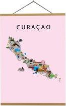 Kaart van Curaçao   B2 poster   50x70 cm   Roze   Maison Maps