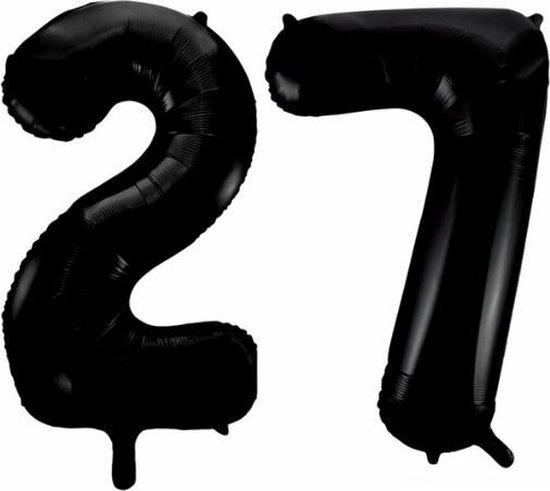 Folieballon 27 jaar zwart 86cm