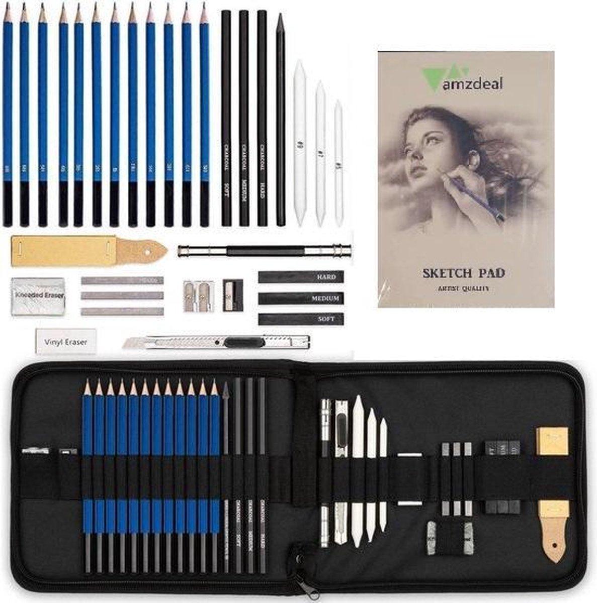 GGGOODS® Schetspotloden - tekenset - potloden set - 38-delig - tekenset volwassenen - Tekenpotloden - Schetsboek - Tekenboek - tekenen met houtskool en grafiet