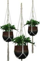 Liviza Macramé plantenhanger - touw en hout - voor binnen en buiten