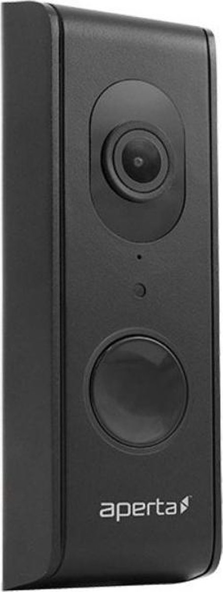 Aperta draadloze video deurbel, Wi-Fi deurbel met camera en app, kleur zwart, APWIFIDSBLK2