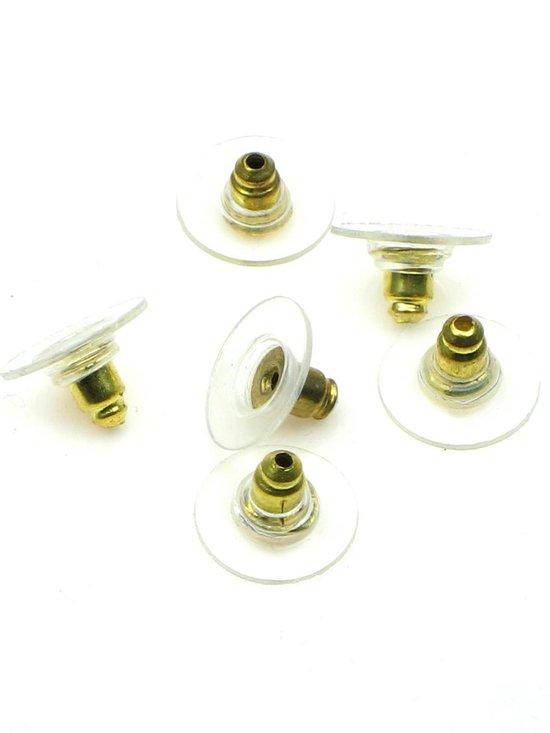 12 Oorbel achterkantjes in goudkleur met plastic ring zeer geschikt voor steker oorbellen, oorbel stoppertjes
