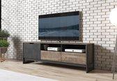 Meubella - TV-Meubel Acasia - Grijs - Eiken - 161 cm
