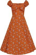 Collectif Dolores Hoot Hoot Owl 50's Swing Jurk Oranje