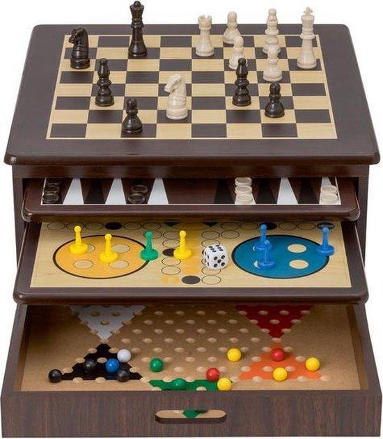 Afbeelding van het spel 10-in-1 verzameling houten spellen - bordspellen - cadeau tip - sinterklaas - kerst - spelplezier - opbergvriendelijk - familiespellen