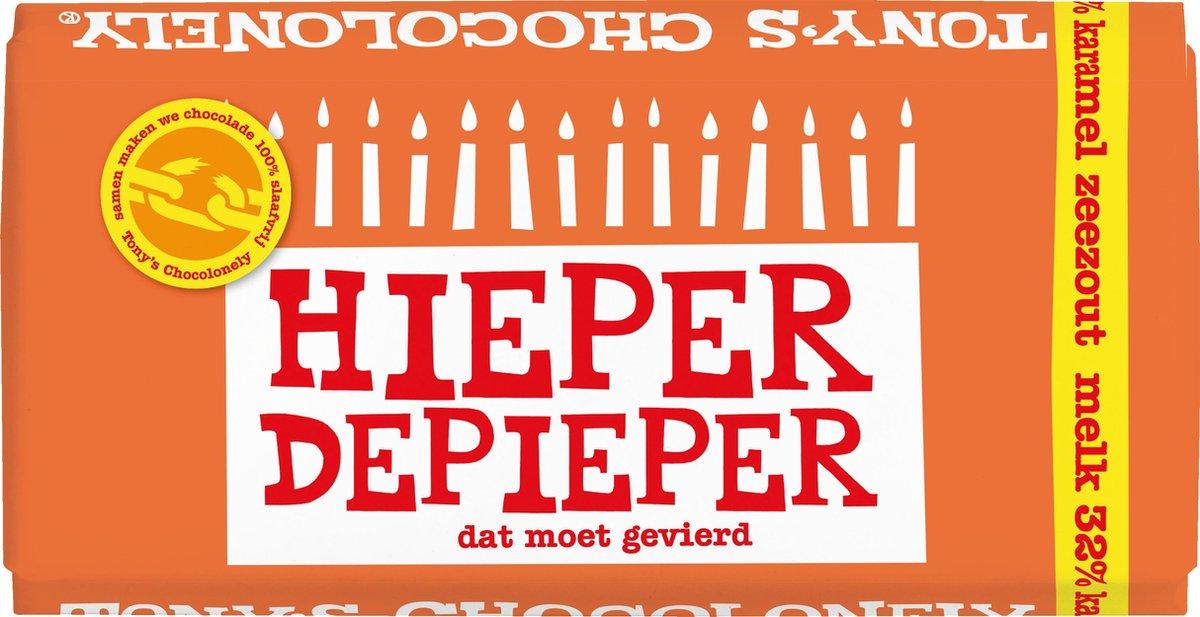 """Tony's Chocolonely Melk Karamel Zeezout - Zeg 't met een reep """"Hieper de pieper""""- Chocoladereep  - 1"""