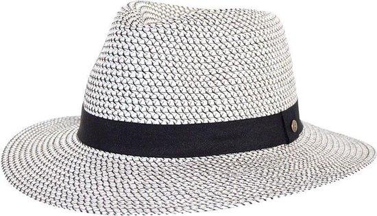 Tijdloze Trilby Fedora Zonnehoed - UV-werend UPF50+ Vrouwen & Mannen - Maat: 61cm - Kleur: Wit/Zwart