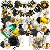 Fissaly® 76 Stuks Goud, Zwart & Wit Decoratie Feestpakket met Confetti Ballonnen – Champagne - Happy Birthday - Helium – Latex - 16, 18, 21, 30, 40, 50, 60, 70 Jaar - 2021 Happy New Year