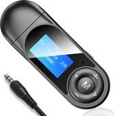 Phannie Bluetooth Receiver en Transmitter - 2 in 1 Audio Ontvanger / Verzender - Via AUX 3.5MM - USB - Adapter - Met Display en Microfoon