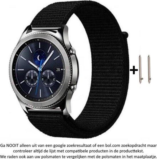 Zwart Nylon Bandje voor 20mm Smartwatches (zie compatibele modellen) van Samsung, Pebble, Garmin, Huawei, Moto, Ticwatch, Seiko, Citizen en Q – 20 mm black nylon smartwatch strap