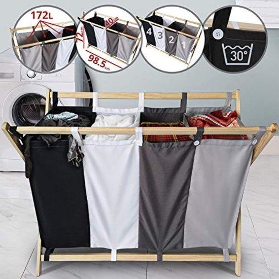 Miadomodo wassorteerder 4 vakken – opklapbaar – wasmand – 172 liter – zwart/wit/donker grijs/licht grijs