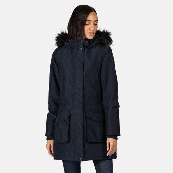 De Sefarina Waterdichte, geïsoleerde Parka jas met capuchon met rand van imitatiebont van Regatta voor Dames Outdoorjas Zwart Marineblauw Blauw