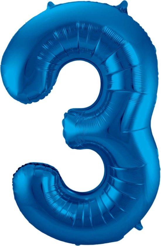 Ballon Cijfer 3 Jaar Blauw Verjaardag Versiering Blauwe Helium Ballonnen Feest Versiering 86 Cm XL Formaat Met Rietje