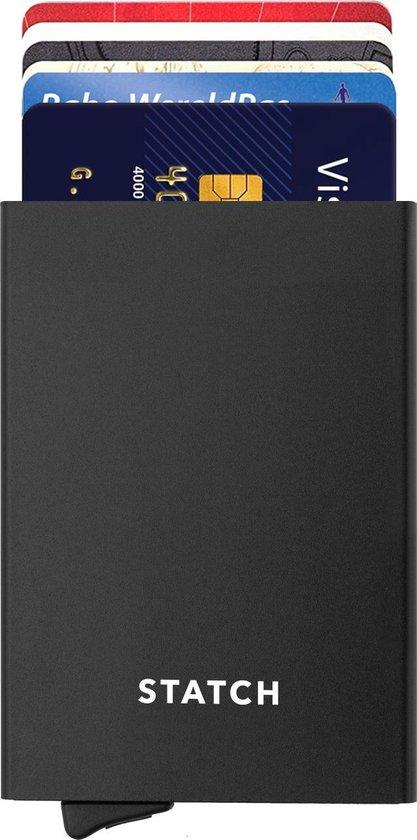 Statch Uitschuifbare Pasjeshouder - Aluminium Creditcardhouder / Kaarthouder  voor mannen en vrouwen - Anti-Skim / RFID Card Protector  7 tot 8 Pasjes - Zwart