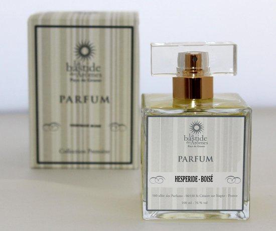 EXCLUSIEF,  Hespéride Boisé Parfum een sterke kruidige echte HEREN PARFUM met Musc, Bergamot en Amber, origineel uit Grasse van het Parfumhuis  La Bastide des Aromes. (met GRATIS rozen anti age Handcrème)