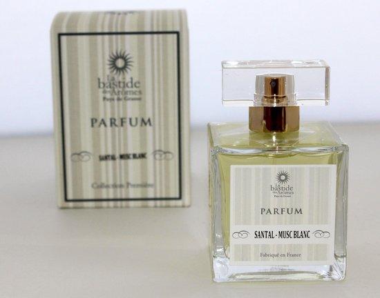 Parfum Santal -Musc Blanc (Kruidige Heren Parfum) van het Parfumhuis La Bastide des Aromes (met GRATIS rozen anti age Handcrème)