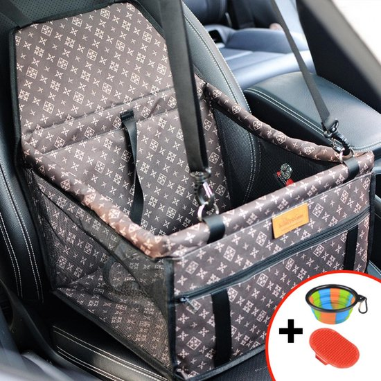 Autostoel hond - Opvouwbaar honden zitje - Dieren zitje – Puppyzitje – Auto Bench hond – Luxe autozitje - Hondenmand - Incl opvouwbaar voerbakje en borstel - Veiligheidsband – Veilig onderweg - Schone auto -
