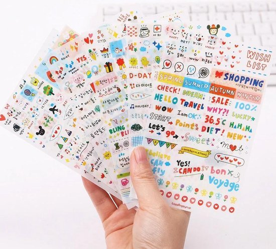 Bullet journal stickers - Stickers - +/- 300 stickers - Kawaii Stickers - Stickers volwassenen - Bullet journal - Bullet journal accesoires