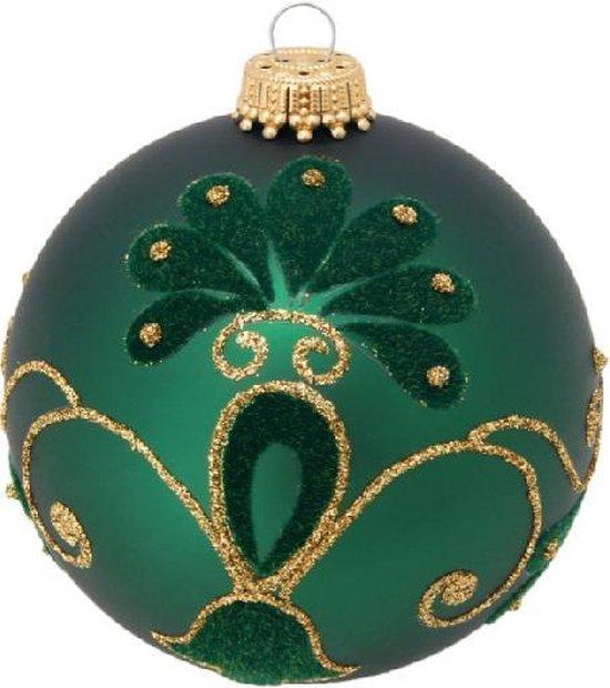 Stijlvolle Groene Kerstballen met Fluweel en Glitters - set van 3 stuks - met de hand gedecoreerd