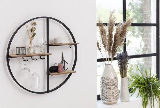 LIFA LIVING Wandrek Industrieel – Muurrek met Glazenhouder - Zwart – Rond – Metaal & Hout – 58 x 11 cm