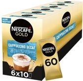 Nescafé Gold Cappuccino Decafe Oploskoffie - 6 doosjes à 10 zakjes