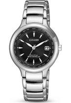 Citizen Radio Controlled Horloge - Citizen dames horloge - Zwart - diameter 30 mm - roestvrij staal