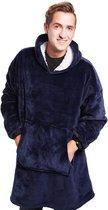 Hoodie deken blauw - hoodie deken - deken met mouwen - hoodie blanket - deken met mouwen voor volwassenen - deken trui - deken hoodie